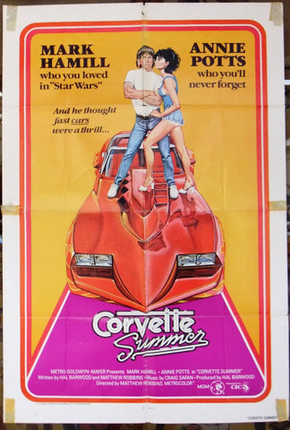 "CORVETTE Summer {Mark Hamill} 41x27"" Original Movie Poster 70s"