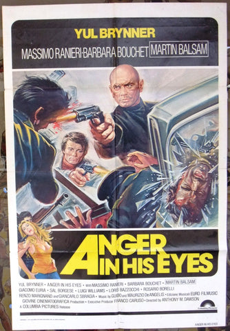 ANGER IN HIS EYES {Yul Brynner} 27x41 Original U.S. Movie Poster 70s
