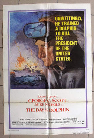 "The Day of the Dolphin {George C. Scott} 41""x27"" Original Movie C US Poster 70s"
