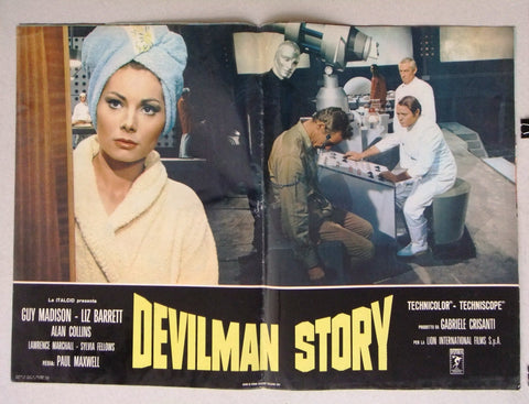 (Set of 8) DEVILMAN STORY (Guy Madison) Italian Film Lobby Card 70s