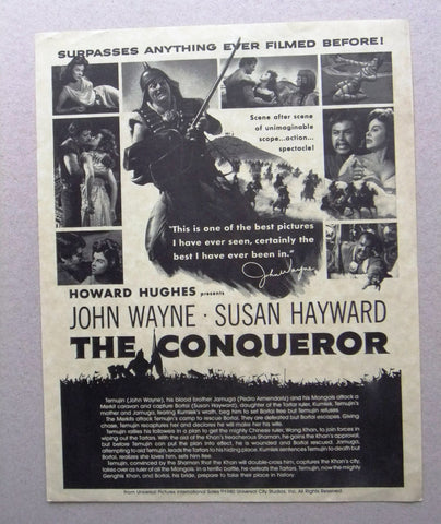 THE CONQUEROR (JOHN WAYNE) Original Movie Ads Flyer 80s