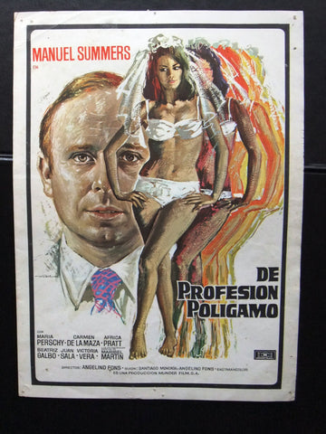 De Profesion Poligamo {Manuel Summers} Original Spanish film flyer 70s
