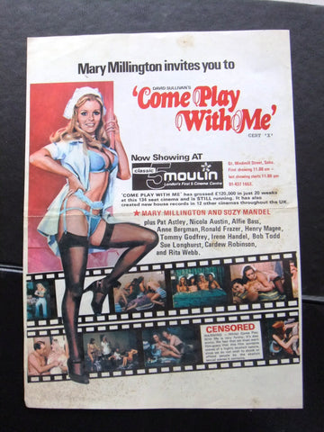 Come Play With Me (Suzy Mandel) Original film flyer 60s