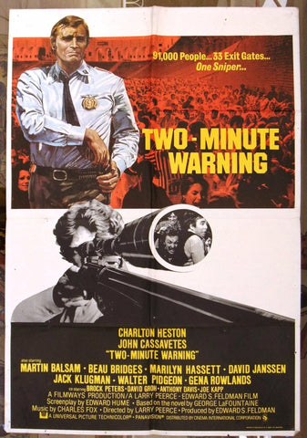 "TWO MINUTE WARNING Charlton Heston} 40x""27"" British Original Movie Poster 70s"