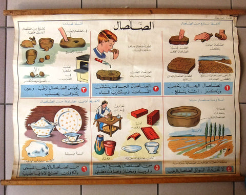 Clay الصلصال Educational Arabic Original Lebanese School Poster 1964