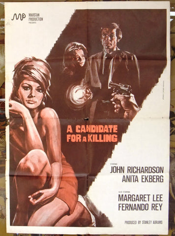 "A Candidate for a kill {ANITA EKBERG} 39x27"" Original Italian Movie Poster 60s"