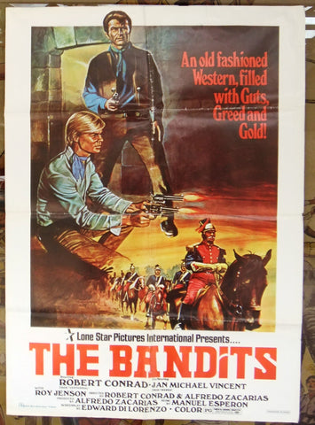 "THE BANDITS (Robert Conrad) 27x39"" Original Lebanese Movie Poster 70s"