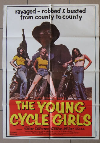 "The Young Cycle Girls (Loraine Ferr) 27x39"" Original Lebanese Movie Poster 70s"