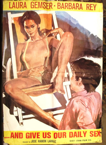 "And Give Us Our Daily Se ( Laura Gemser) 27x39"" Original Lebanese Movie Poster 70s"