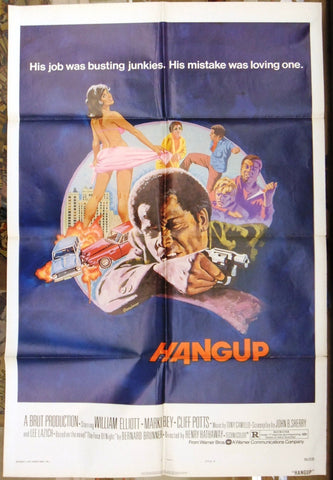 "HANGUP (William Elliott) 41""x27"" Original Movie US Poster 70s"
