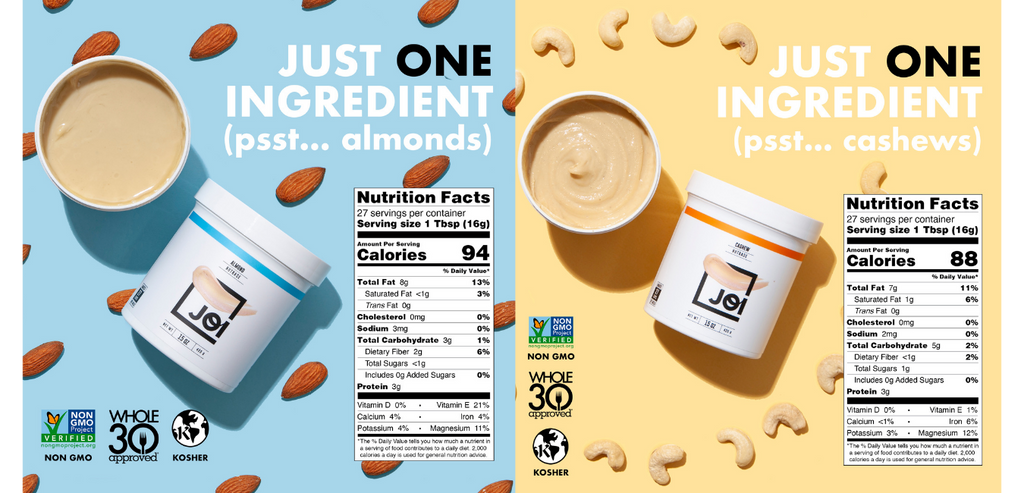 JOI Almond and Cashew Bases Nutritional Panel
