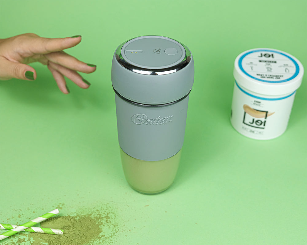 Spiced Vanilla Matcha Iced Latte Made with JOI and Oster Blend Active is the At-Home Boost You've Been Looking For