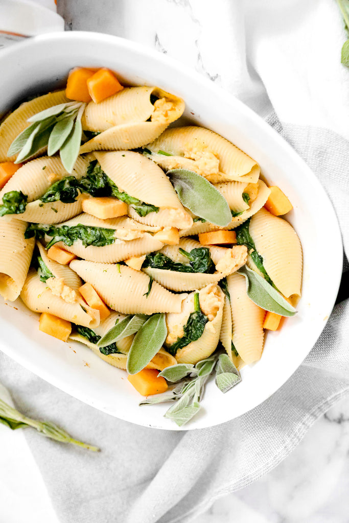 Quick & Easy Vegan Butternut Squash & Spinach Stuffed Shells | Made with JOI