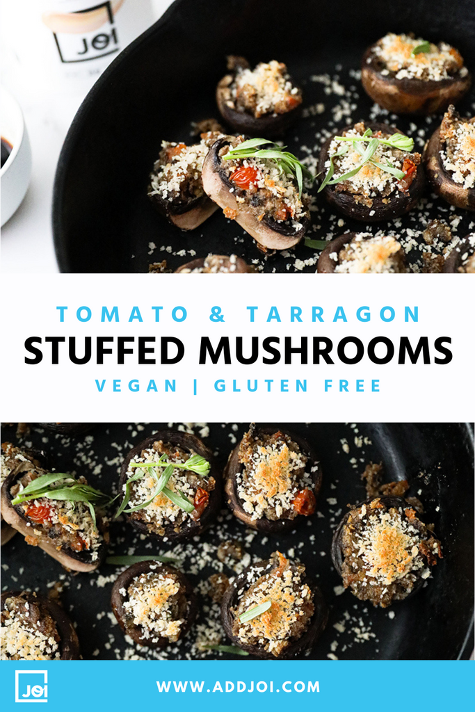 Tomato and Tarragon Stuffed Mushrooms | Vegan | Gluten Free | Made with JOI