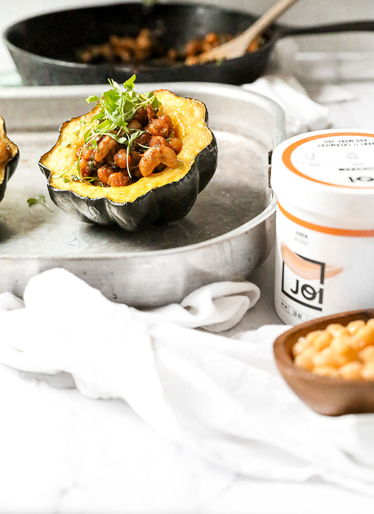 Cashew Chickpea Stuffed Acorn Squash made with JOI
