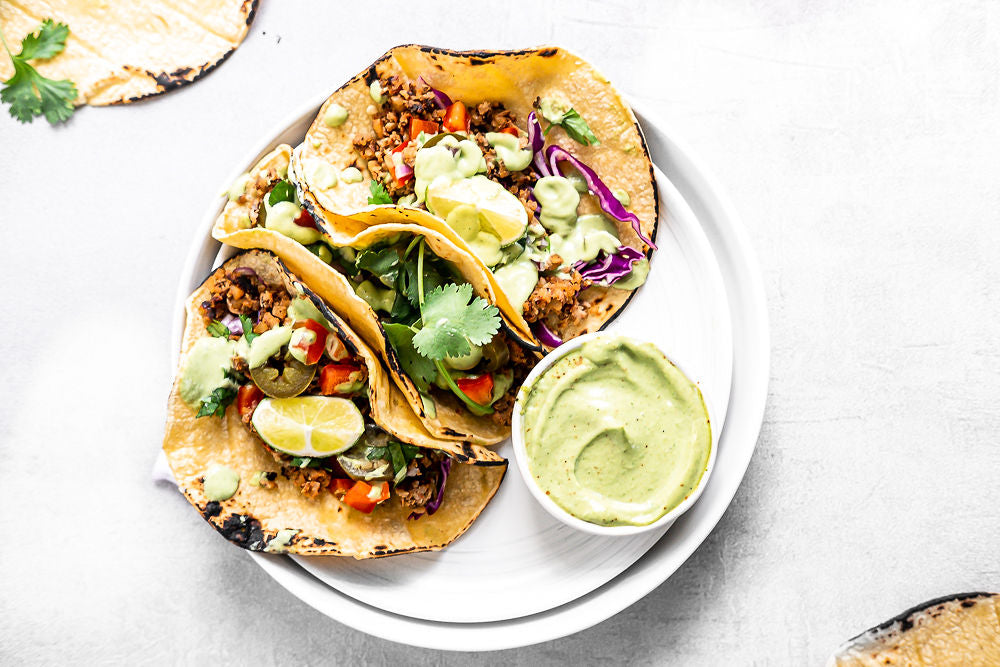 vegan tacos with avo cashew crema