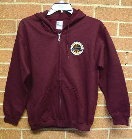 MTFCA logo Hooded Zippered Sweatshirt-Maroon
