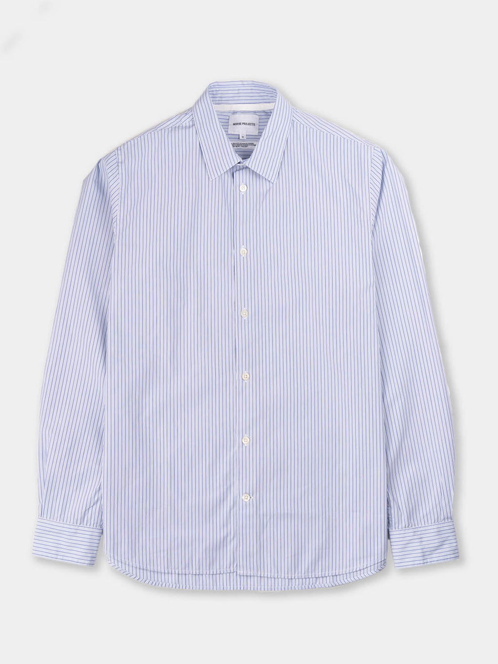 Mens dress shirt, oxford button down, Italian cotton, Blue and white stripe, Norse Projects
