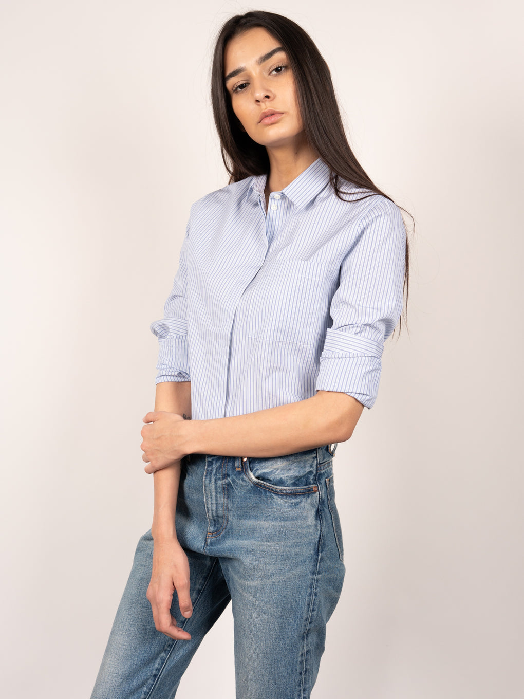 menswear inspired womens shirt - Agny poplin button up - Striped pale blue - Norse Projects Womens - Understudy