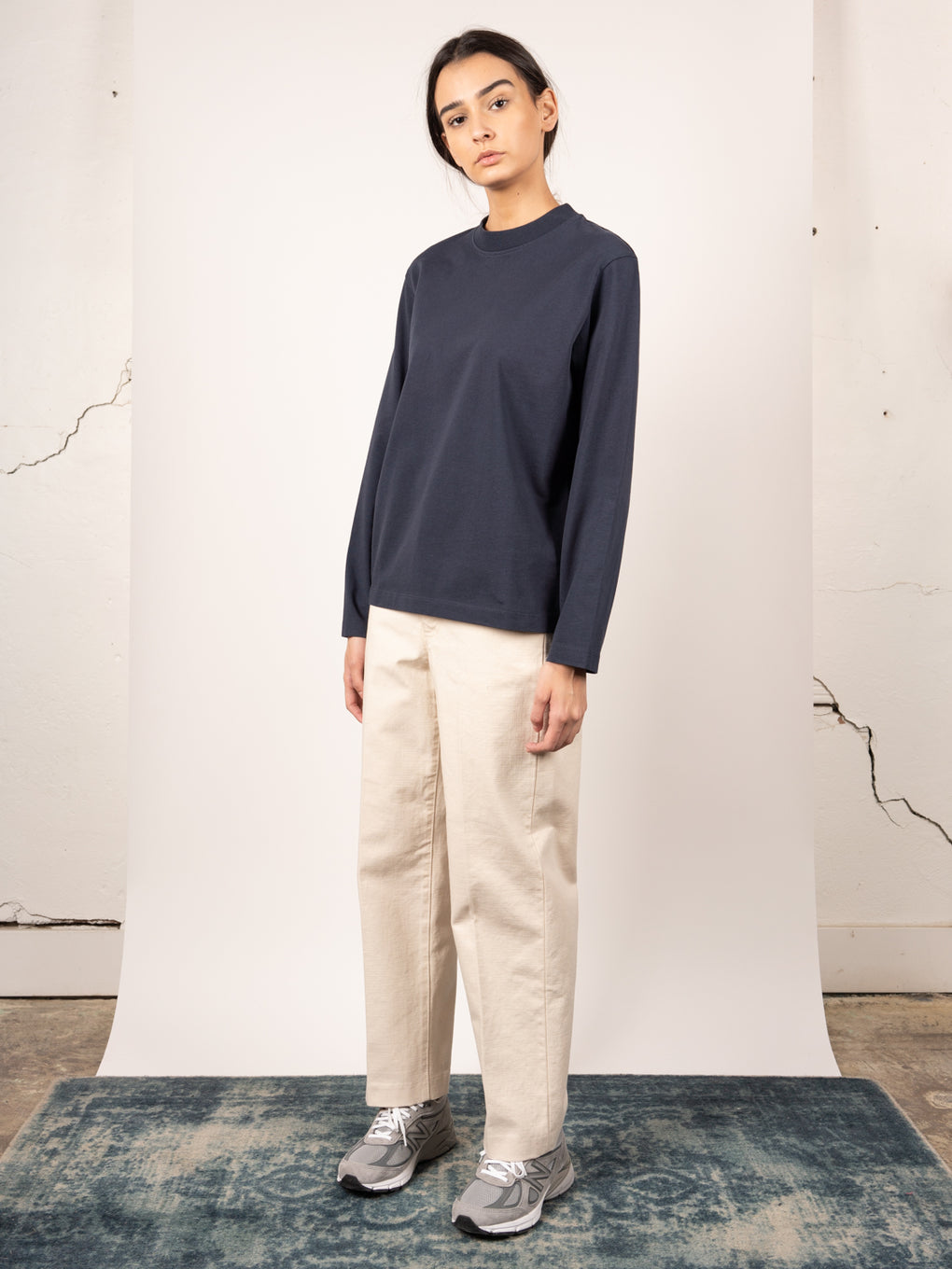 Womens relaxed fit, long sleeved tshirt in navy from Norse Projects Womens