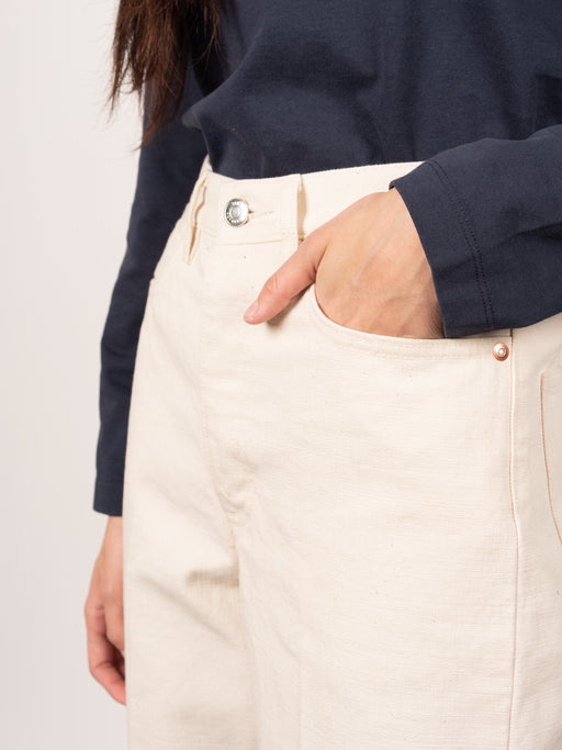 Dad Jean Trousers Raw White Denim