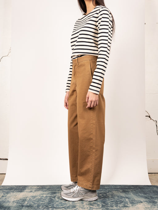 womens khaki, wide leg, chino, menswear inspired, Camel colour, Tanaka