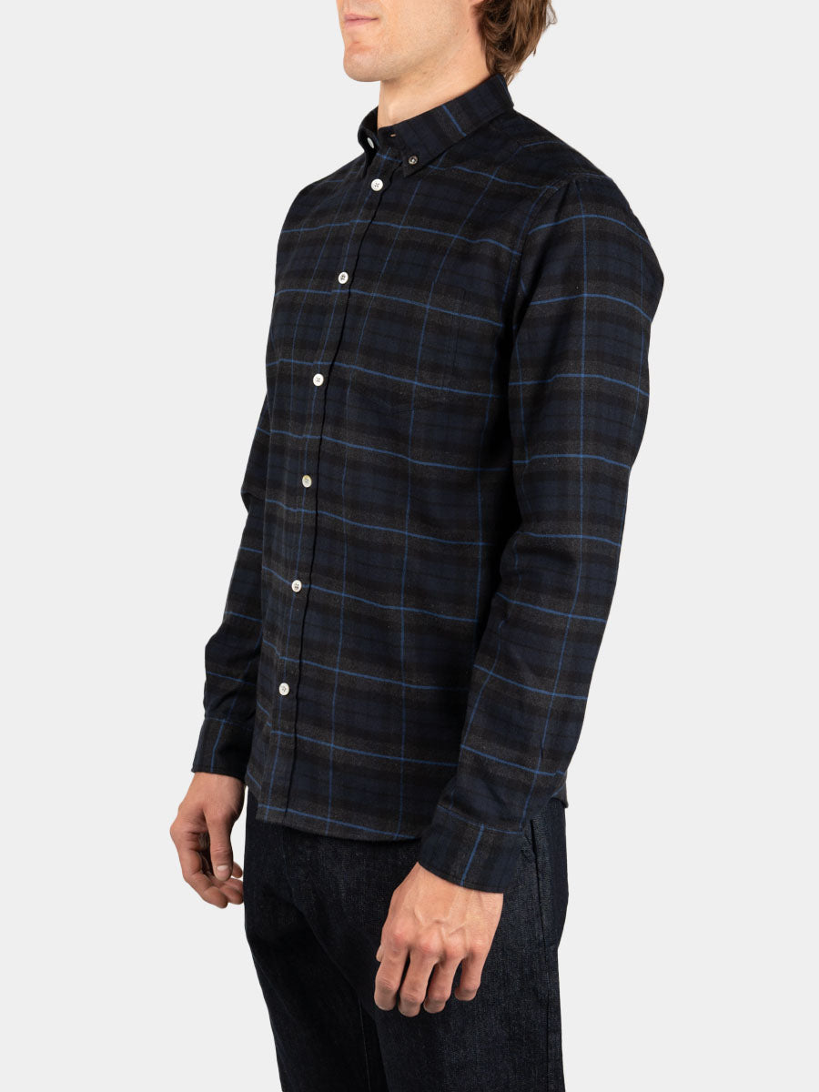 Anton Brushed Flannel Check Navy Check