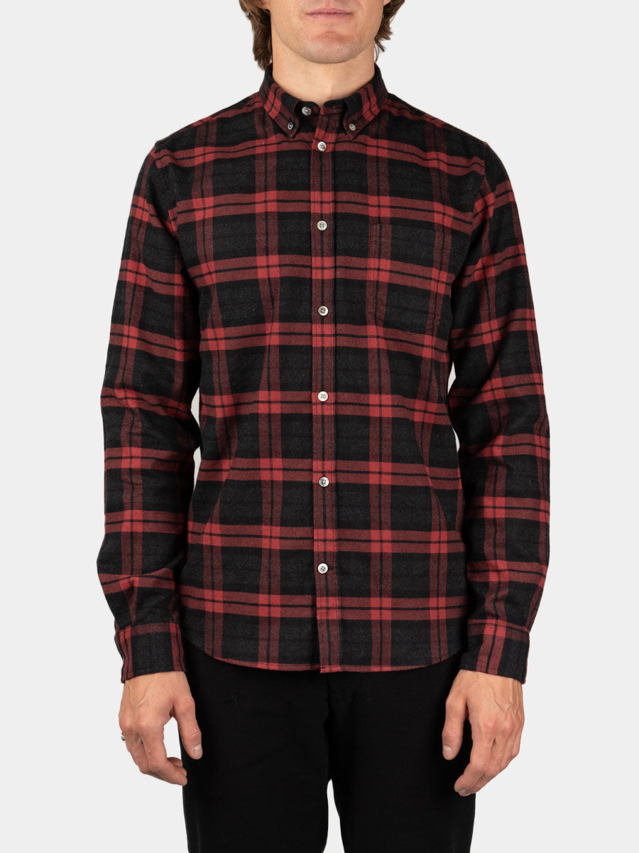 Anton Brushed Flannel Check Carmine Red