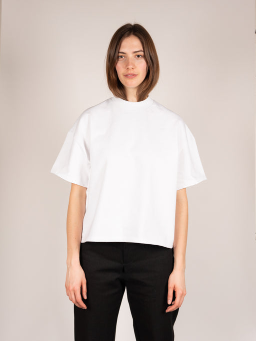womens oversized tee, boxy fit, crew neck, cropped, white cotton, In Objects We Trust