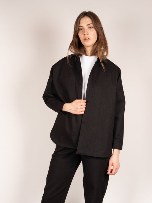 unisex work shirt, oversized, black heavy canvas twill, layering piece, drop shoulder, In Objects We Trust