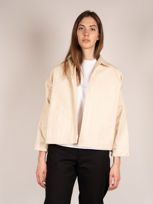 unisex jacket, boxy, cropped, front pockets, womens layering piece, oversized, cream canvas, In Objects We Trust