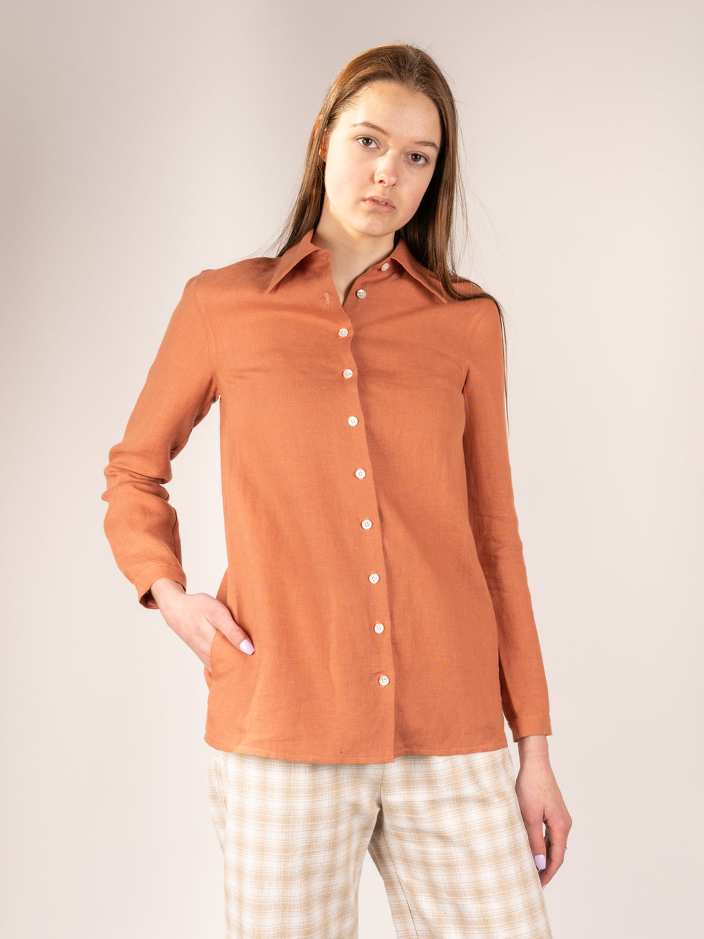 womens linen shirt, clay colour, button up, side pockets, made in usa, Town Clothes