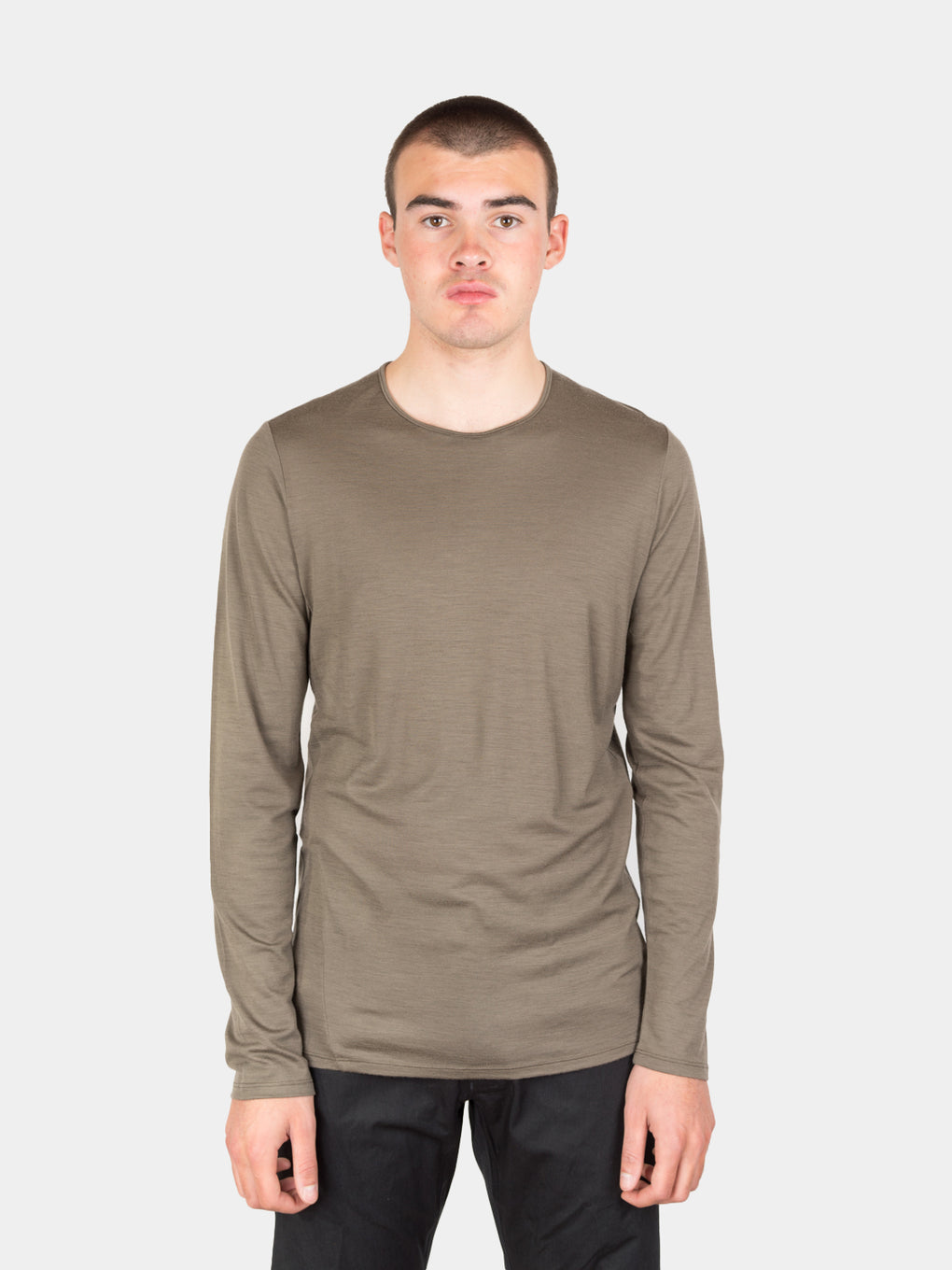 frame shirt ls, mortar, veilance, on model front view