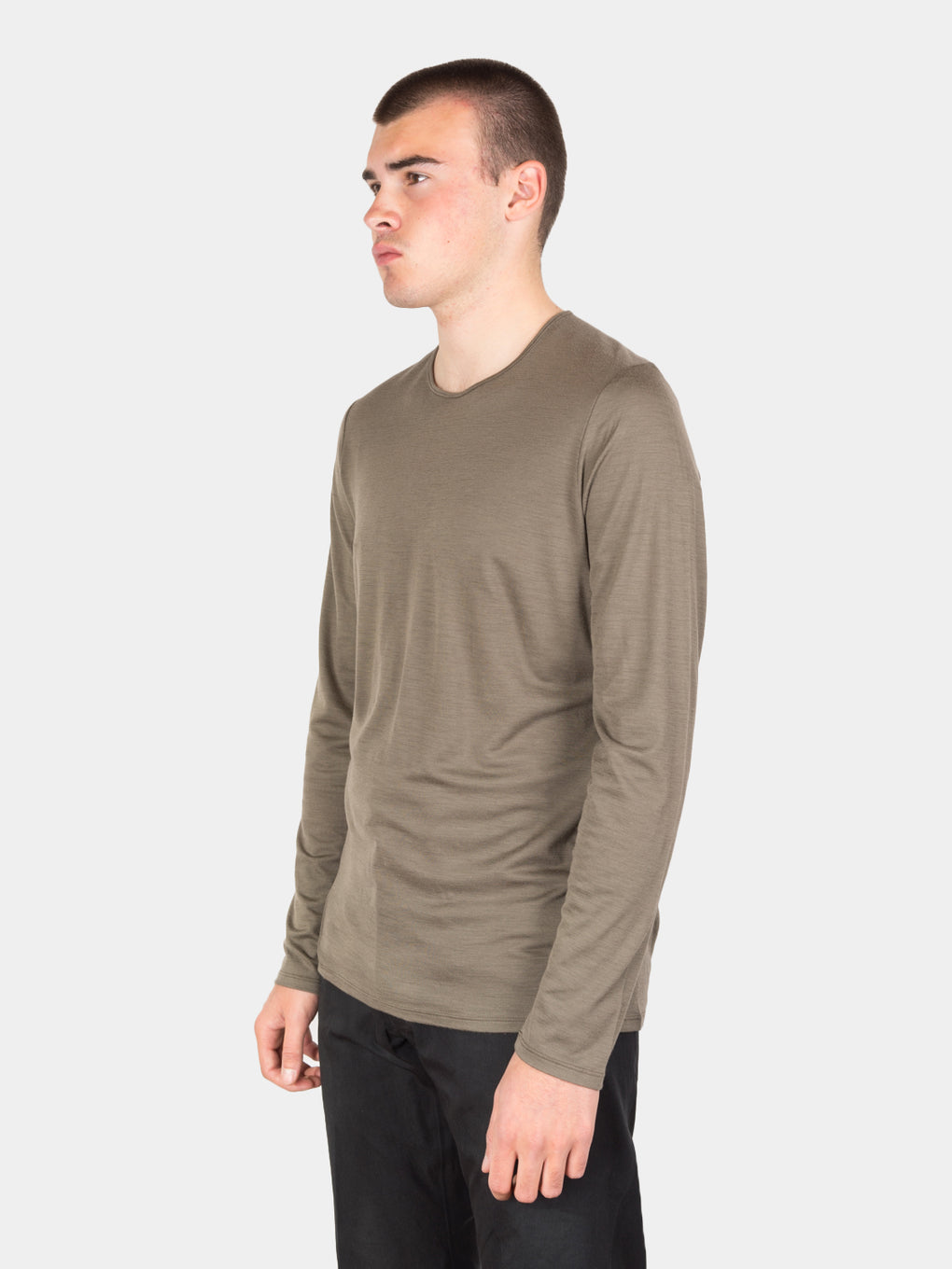 frame shirt ls, mortar, veilance, on model side view