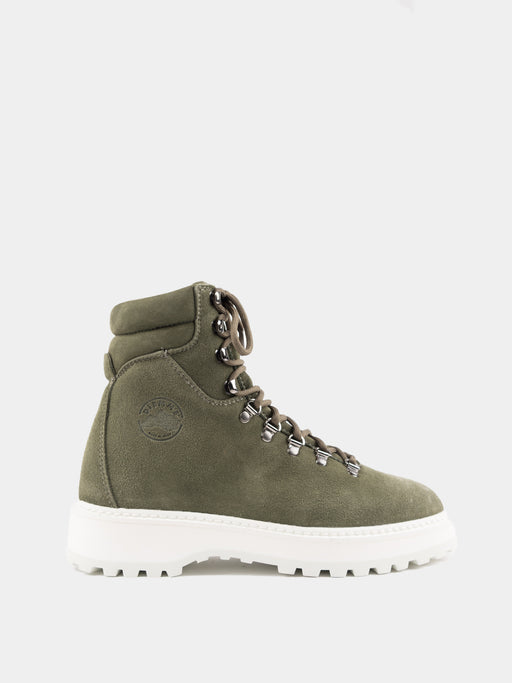 womens premium hiker style boot, smooth suede, olive green, lug sole, Diemme