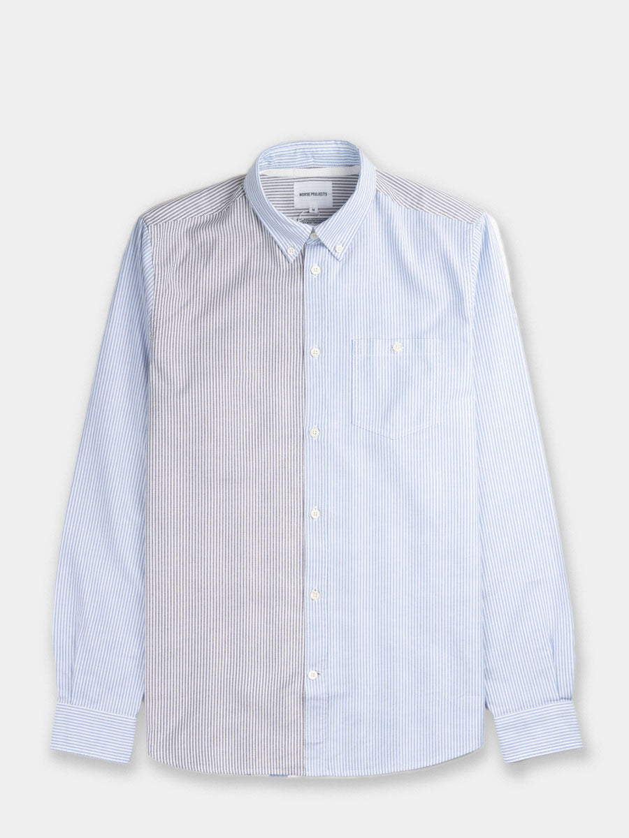 mens oxford, Italian cotton, striped blue and white, Ivy league style, Norse Projects