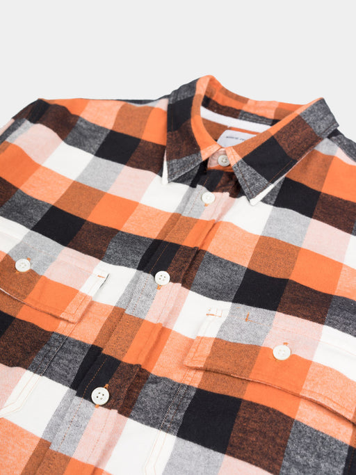 Villads Brushed Flannel Check Signal Orange