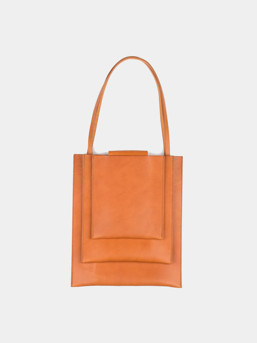 womans bag, 3 stacked compartments at front, minimalist design, tan full grain leather, Sara Barner