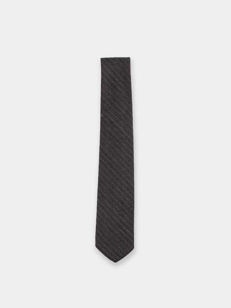 charcoal wool neck tie, mens accessory, striped, engineered garments