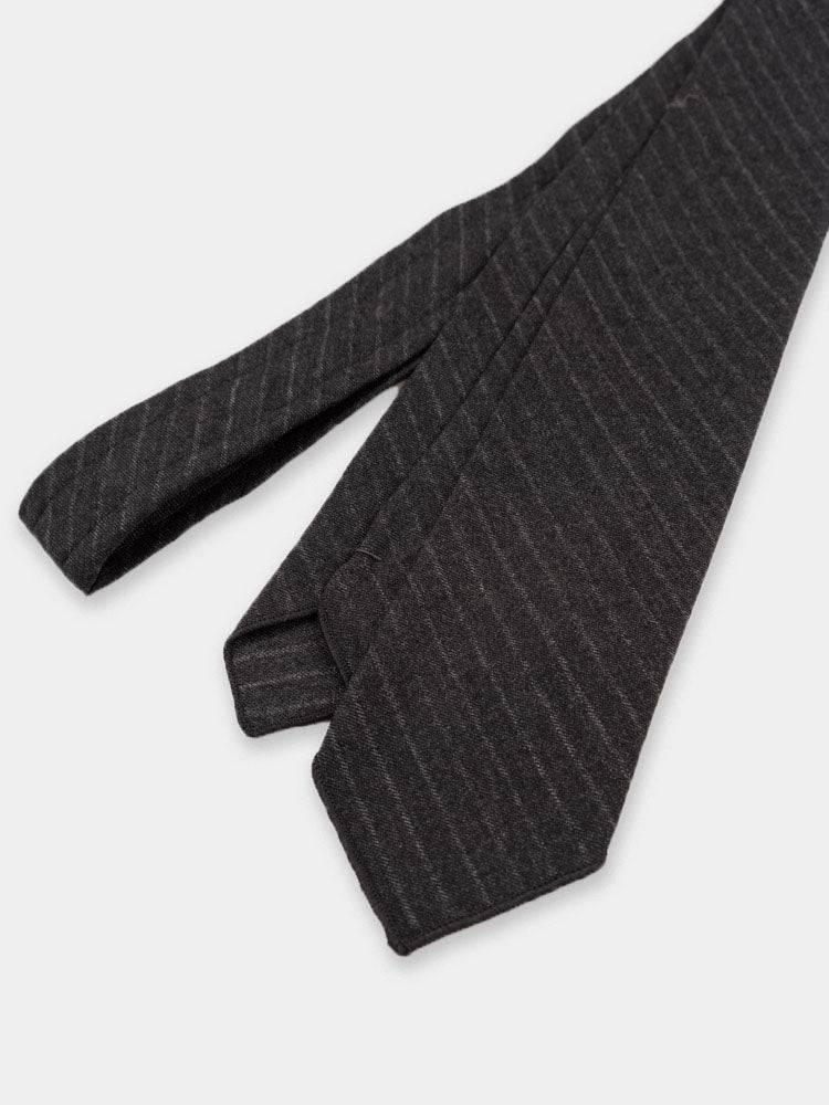 Neck Tie Charcoal Worsted Wool Chalk Stripe