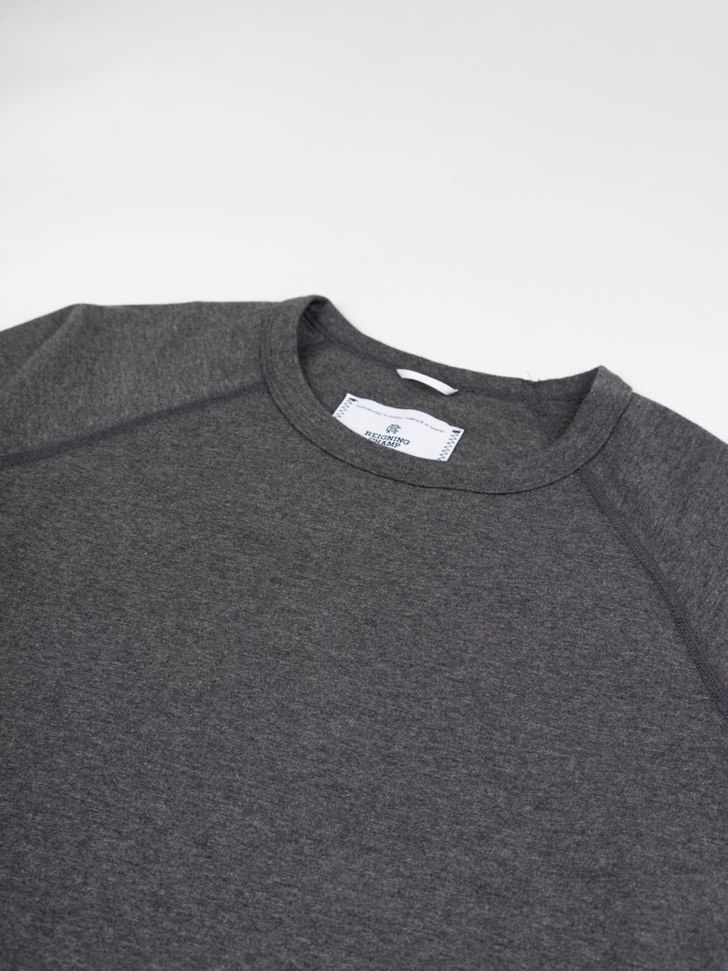 Cotton Jersey Raglan Tee Heather Charcoal