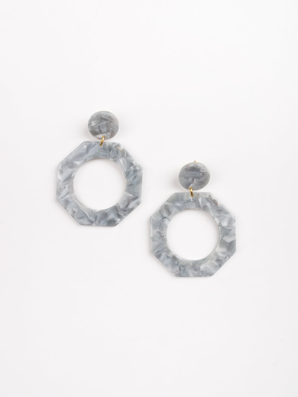 womens earrings, grey geometric hoops attached to round stud, lightweight acetate, Apres ski
