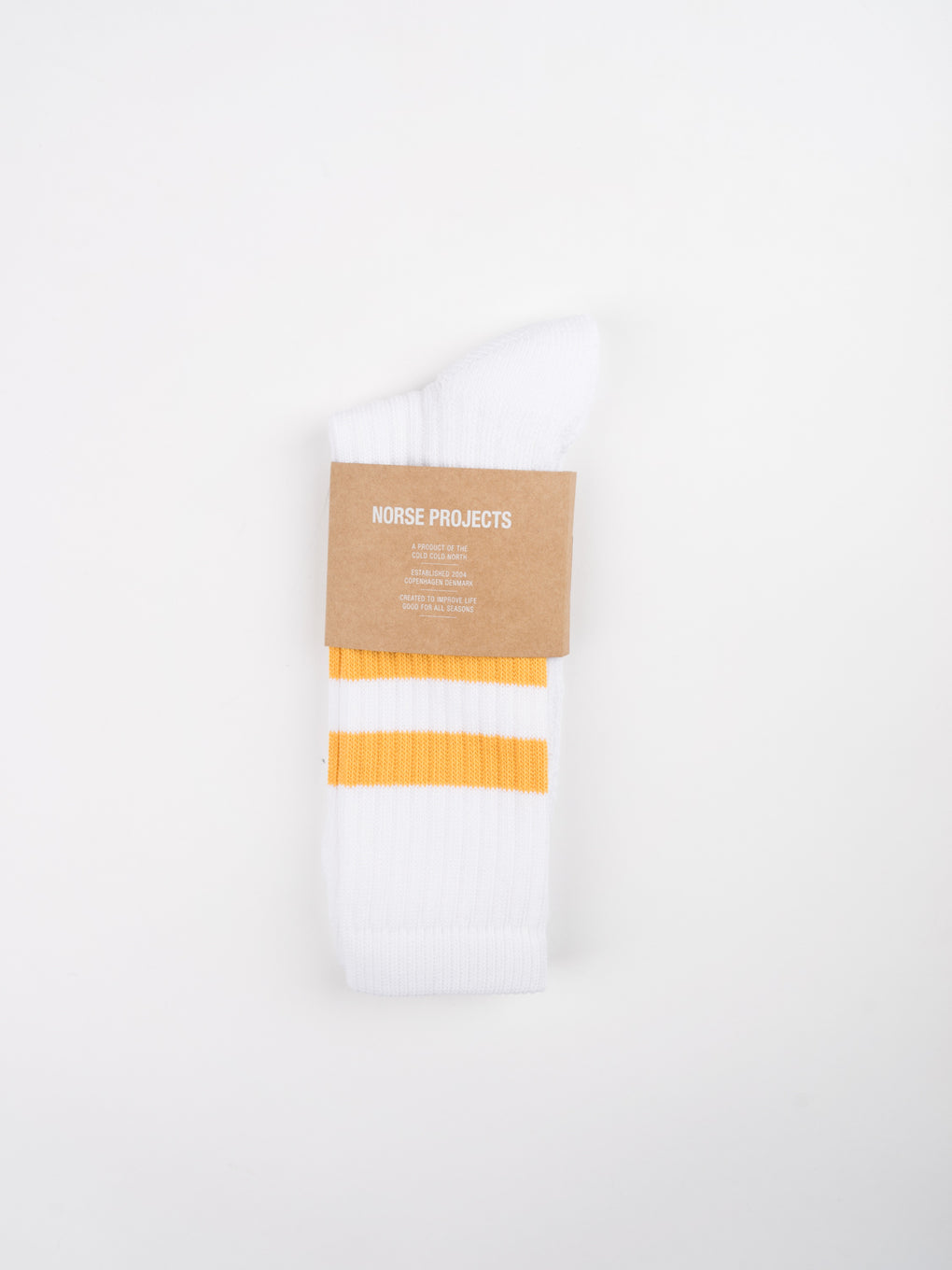 mens white cotton sport sock with yellow stripe detail at cuff from Norse Projects