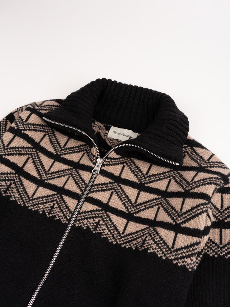 Zip Through Cardigan Black