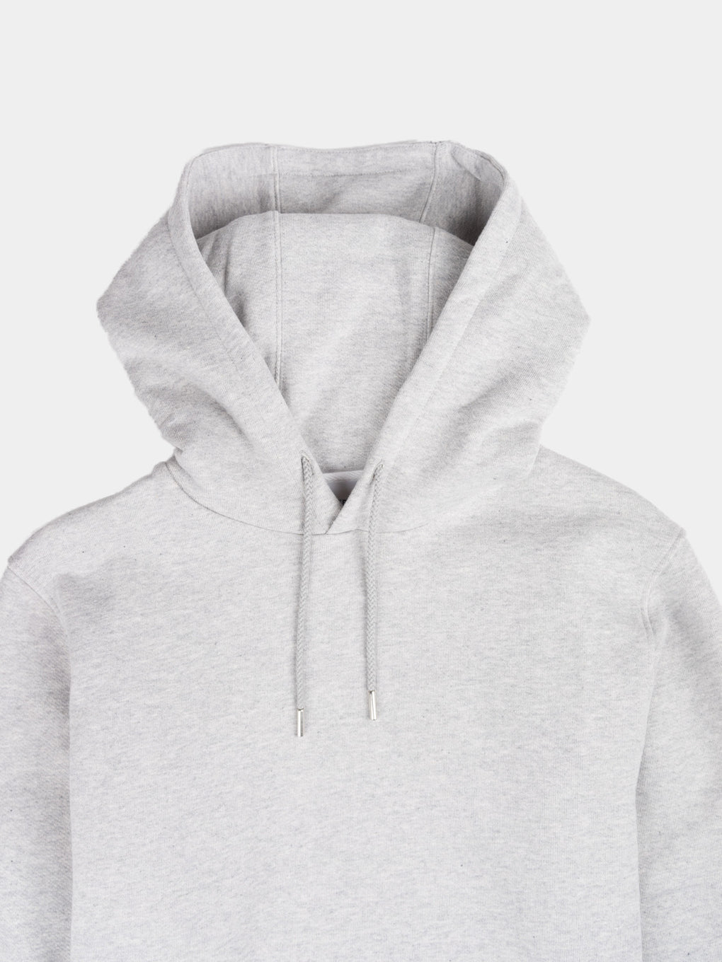 vagn classic hoodie, light grey melange, norse projects, hood detail shot
