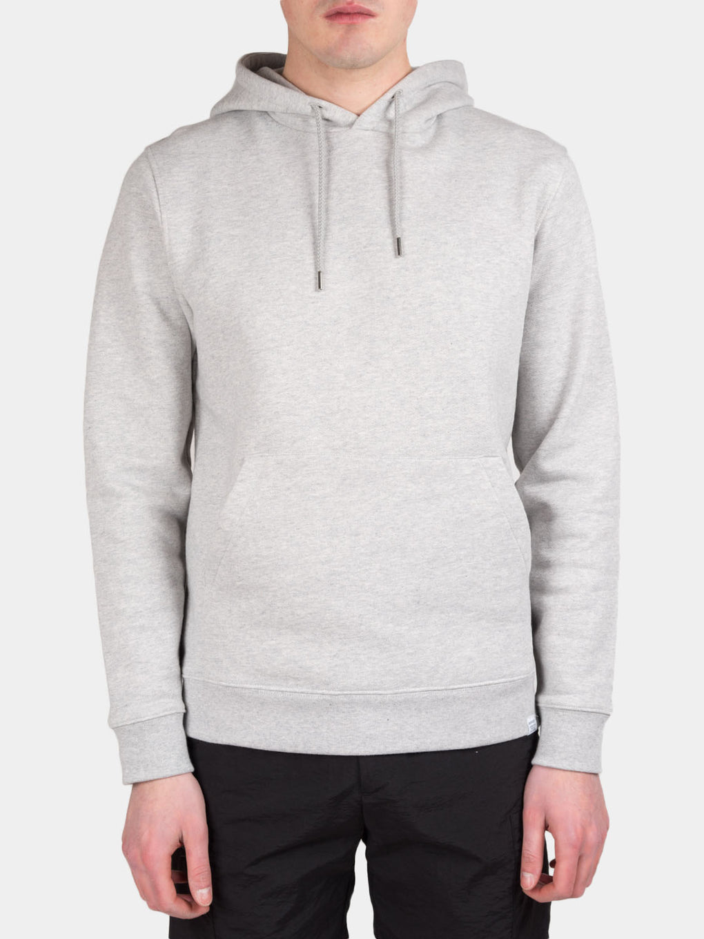 vagn classic hoodie, light grey melange, norse projects, on model front view