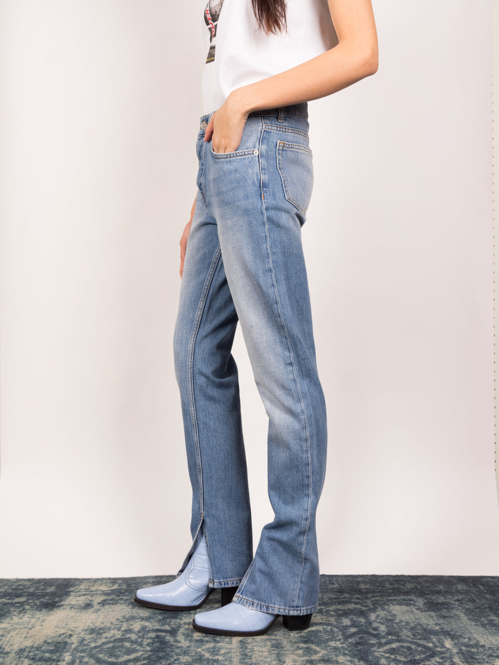 Ganni womens silm jeans in light wash for SS19