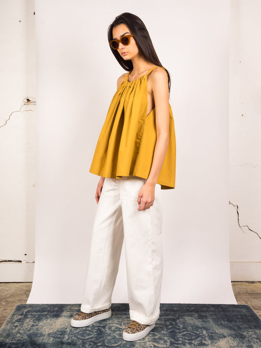 womens fashion summer top, voluminous silhouette, gathered fabric, ochre, Kloke