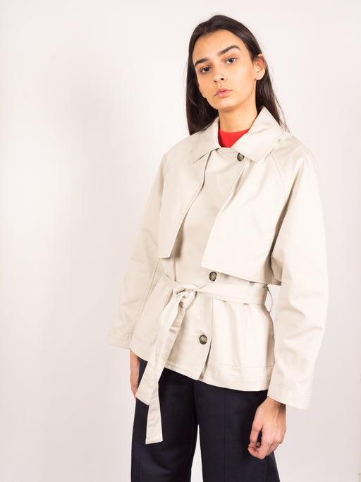 womens trench, menswear inspired, short trench, spring layer, Kloke