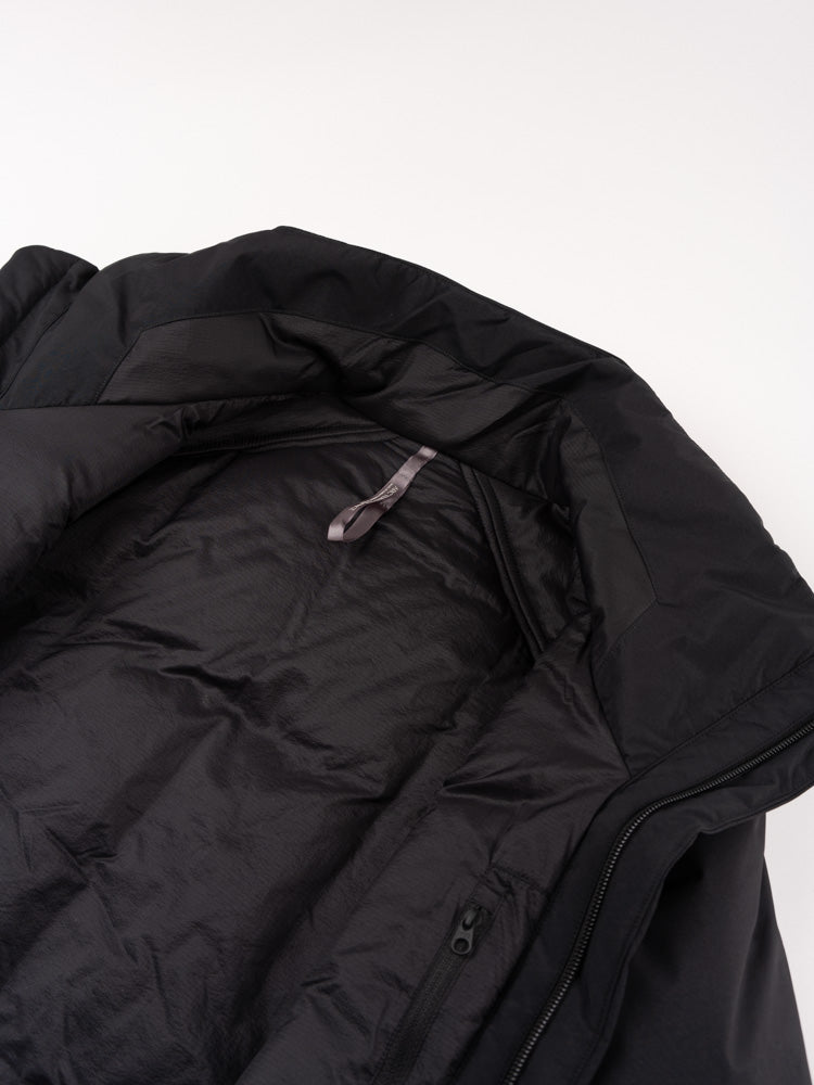 euler IS coat, black, veilance, open collar
